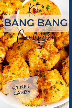 Keto Bang Bang Cauliflower has just the right amount of sweet heat from the easy to make Bang Bang Sauce! It is a delicious side that works just as well as an appetizer. You are going to love this crispy, sweet, and spicy cauliflower! With less than 5 net carbs per serving this is the perfect low carb dish! Gluten Free Recipes For Breakfast, Sugar Free Recipes, Easy Healthy Recipes, Keto Recipes, Vegetarian Recipes, Snacks Recipes, Party Recipes, Ketogenic Recipes, Keto Snacks