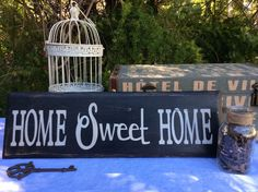 """Rustic, Vintage, Wood """"Home Sweet Home"""" Sign by UpcycledBlessings on Etsy https://www.etsy.com/listing/229351380/rustic-vintage-wood-home-sweet-home-sign"""