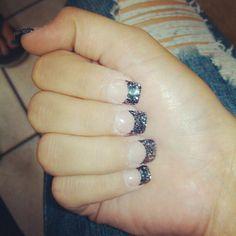 46 Trendy Nails Design Summer Acrylic French Tips Sparkle Nail Polish Hacks, Nail Tips, Gel Nails, Nail Ideas, Colored French Tips, Acrylic Gel, Girly Things, Girly Stuff, Black Glitter
