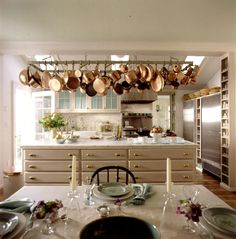 Martha Stewart's Turkey Hill kitchen after it was renovated in the 1990s - quite a change from the rustic style of the kitchen as it appeared in the 1980s, shown above.