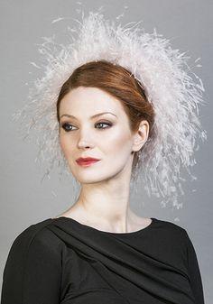 Rachel Trevor Morgan Millinery SS 2016   R1678 - Soft pink ostrich feather Jackie O pillbox