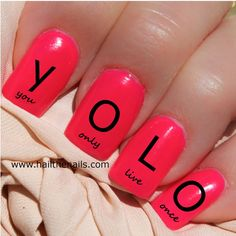 Black YOLO Nail Art Water Transfer Decal 'You Only Live Once' on Etsy, $3.09