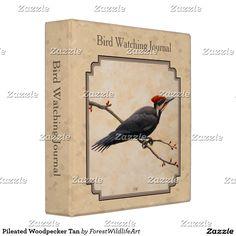 Pileated Woodpecker Tan 3 Ring Binder