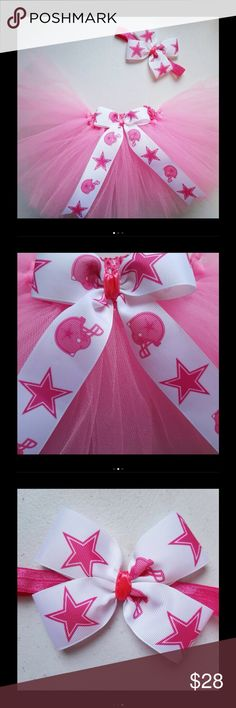 Pink Dallas Cowboys Tutu & Bow Headband Set Adorable new handmade tutu skirt in pink featiring the Dallas Cowboys. Perfect for a photoshoot, birthday, games, special occasion, or dress up. Fits 12m-3T. Also available in other sizes. PRICE IS FIRM unless bundled. Matching Sets
