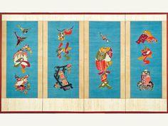 'Characters and motifs of the four seasons' by Keisuke Serizawa, folding screen Four Seasons, Japanese Art, Kids Rugs, Illustration, Characters, Decor, Japan Art, Decoration, Kid Friendly Rugs