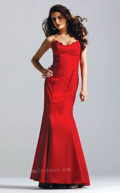 Sexy Strapless V neck with Floor Length Mermaid Dress Red Cheap Evening Dress