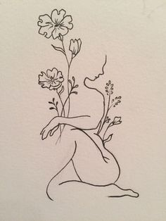 Minimalist woman and flower tattoo Leaf Tattoos