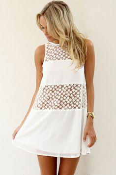 Crochet detail white mini dress