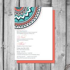 Ornate Indian Inspired Wedding Invitation by ChristinaElizabethD, $2.50