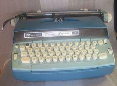 1970's vintage 2 tone blue smith corona electric  typewriter