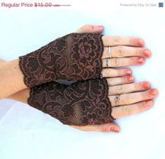 Mocha Lace fingerless gloves in  Brown floral by Steampunkwolf, $13.50