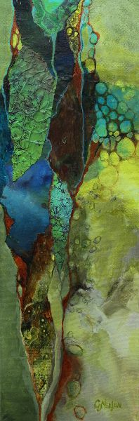 "Primordial Soup, 070118 by Carol Nelson mixed media ~ 24 inches x 8 inches-Mixed media collage painting, ""Primordial Soup"" 070118, © Carol Nelson Fine Art"