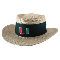 Miami Hurricanes Natural Twisted Straw Gambler Hat - Tournament Green with Sun blocker material Natural Twists, Miami Hurricanes, Birch, Hats, Green, Caps Hats, Hat, Hipster Hat