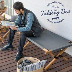 アカシア天然木の本格仕様のフォールディングベッド。。折りたたみ式 アカシア天然木 フォールディングベッド 91033 収納袋付 アウトドア キャンプ 野外 屋外 キャンプ用品 レジャー バルコニー リビング