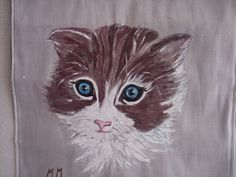 Cat lovers, Brown and white American curl cat, Hand painted cat wall hanging #Realism