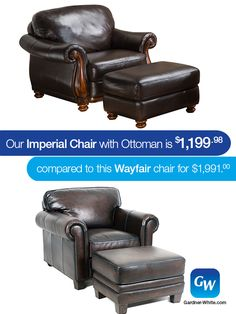 Check out our Imperial Chair with Ottoman compared to this similar one from Wayfair. Not only does our Imperial save you $791, but it's still all leather PLUS it has wood trim! Comment below and let us know what you think of the Imperial Chair with Ottoman. #LooksForLess #DontOverpay