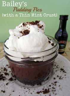Bailey's Pudding Pies with Thin Mint Crust