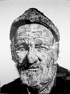 """""""Bruce 60"""" print by Neil Shigley, (1955-) http://neilshigley.com/ Tags: Linocut, Cut, Print, Linoleum, Lino, Carving, Block, Woodcut, Helen Elstone, Profile, Portrait, Face, Man, San Diego, Large-Scale Printing, The Invisible People Series."""