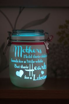 """Personalised Glass Jar Love-Lite Jar """"Mother and daughter quote"""" by on Etsy jar crafts for kids This item is unavailable Bottles And Jars, Glass Jars, Candle Jars, Candles, Mason Jar Gifts, Mason Jar Diy, Crafts With Mason Jars, Personalized Mason Jars, Wine Bottle Crafts"""