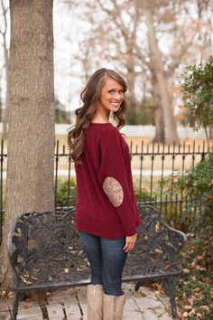 The Pink Lily Boutique - Sequin Patch Sweater Burgundy CLEARANCE!!!!, $30.00 (http://thepinklilyboutique.com/sequin-patch-sweater-burgundy-clearance/)