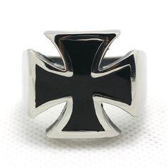 Iron Cross Biker Ring in 316L steel  17x17mm