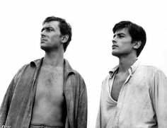Alain Delon and Maurice Ronet in Plein Soleil by René Clément 1960