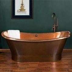 "70"" Copper Double Slipper Air Bath - Overflow - (Shiny Interior / Medium Antique Finish Exterior) - Amazon.com"