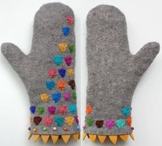 Felted Embroidered Mittens by Dadaya