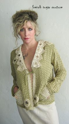 French Sugar Parisian Up-cycled Sage Green Cotton Jacket Embellished with Vintage Lace - Altered Couture.