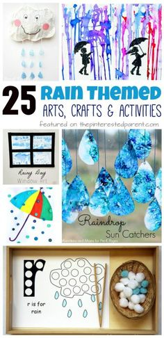 25 Rain themed arts, crafts and activities for the spring. Kids arts and crafts ideas. Painting, science Toddlers and preschoolers Science Toddlers, Activities For 2 Year Olds Daycare, Art Activities For Preschoolers, Spring Crafts For Preschoolers, Physical Activities For Toddlers, Arts And Crafts For Kids Toddlers, Weather Activities Preschool, Painting Activities, Indoor Activities