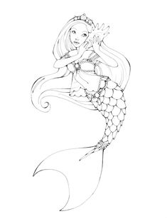 Printable Mermaid Coloring Pages Outline