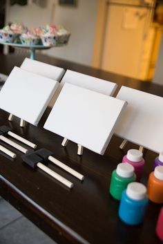 Individual canvases on mini easels with paint -- perfect for an art themed party! #AmazonPrime #CleverGirls