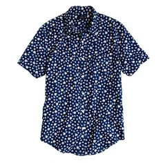 Indigo Short-sleeve shirt in floral reverse print