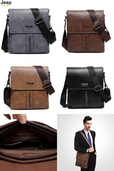 4fa5ef6a4a3e JEEP BULUO New Fashion Cow Split Leather Man Messenger Bags Business Male  CrossBody Bag Casual Men Commercial Briefcase Bag 5844-in Crossbody Bags  from ...
