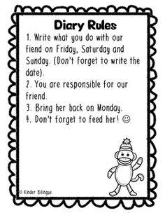 Monkey diary in English and Spanish FREEBIE by Kinder Bilingue by Juliana Suarez | Teachers Pay Teachers