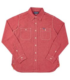 IHSH-290-RED - 10oz Mock Twist Selvedge Chambray Work Shirt - Red | James Dant - Purveyors of Men's Goods Hard Wear, Work Shirts, Chambray, Long Sleeve Shirts, Shirt Designs, How To Make, How To Wear, Weave, Pepper