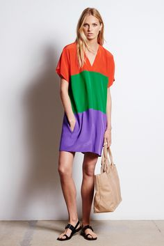 Tomas Maier | Resort 2016 | 21 Orange/green/purple short sleeve mini dress