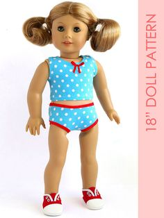 Doll UNDERWEAR pattern, American girl doll clothes pattern pdf, 18 inch doll clothes sewing pattern, doll clothing pattern, DOLL UNDERWEAR