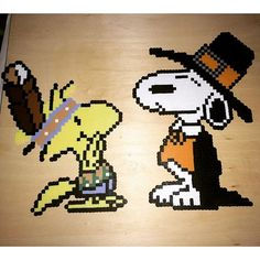 Pilgrim Snoopy and Indian Woodstock - Thanksgiving perler beads by  seriouslyleroy