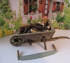 Dollhouse Country wheelbarrow filled with by Insomesmallwayminis, $14.00