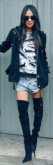 Black O T K B Denim Cut Offs Leather Jacket Graphic Tee Fall Inspo by Lysana Fashion Obsessed