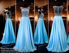 Look like a princess in this sweet sky blue chiffon evening gown. The high beaded neckline and illusion back give this dress such an elegant look! So pretty and it's at Rsvp Prom and Pageant, your sou