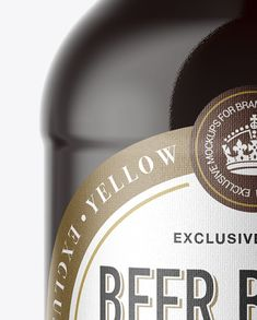 330ml Amber Glass Bottle with Red Ale Mockup Close-Up