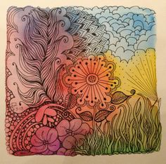 """First ZIA - Zentangle Inspired Art. Watercolor and micron pens on 6""""x6"""" paper."""