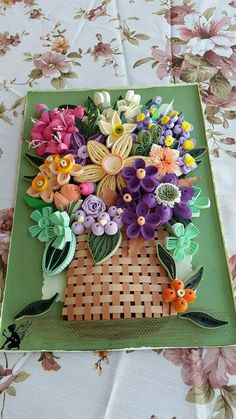 Quilled Basket with Flower Arrangement ~ April 2016 ~ The Quilling Fairies Facebook
