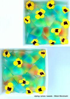 和菓子『夢 Yume』agar sweets flavored with plum ★styling / photo / sweets : Midori Morohoshi http://ameblo.jp/greenonthetable/imagelist.html