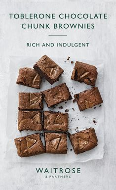 Get baking with this indulgent chocolate chunk brownie recipe. Tip: any variety of Toblerone – white, dark or coconut – would work brilliantly in these brownies. Tap for the full Waitrose & Partners recipe. Tray Bake Recipes, Brownie Recipes, Baking Recipes, Cookie Recipes, Dessert Recipes, Vegan Brownie, Toblerone Chocolate, Chocolate Chunk Brownies, Toblerone Cake Recipe