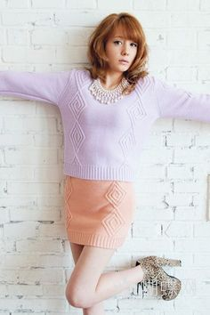 Pastel knit for spring Pastel Outfit, Japanese Models, Japanese Beauty, Turtle Neck, Knitting, Spring, Sweaters, Inspiration, Clothes