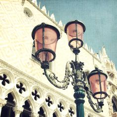Fine Art Photograph of a lamp post with pink glass globes in the San Marcos square on a sunny day in Venice Italy.    TITLE ~ Pretty in Pink SIZE ~