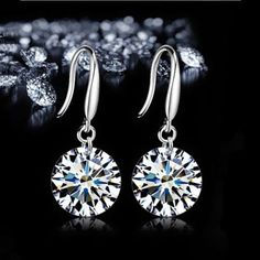 c4c935ac3 New Women Silver plated stud Earring Luxury Bling 8mm CZ Bare Rhinestone  Female Ear Jewelry New